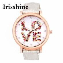 Irisshine i0698 повелительницы Любовь Pattern Кожаный Ремешок Аналоговый Кварцевые Часы Vogue женские часы