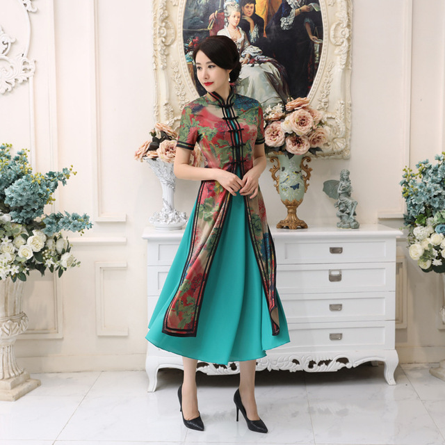48fad3b39e9 2018 High Fashion Vietnam Ao Dai Dress Elegant Burgundy Satin Chinese Style  QiPao Short Sleeve Sexy Print Long Dress S-3XL AD5-A