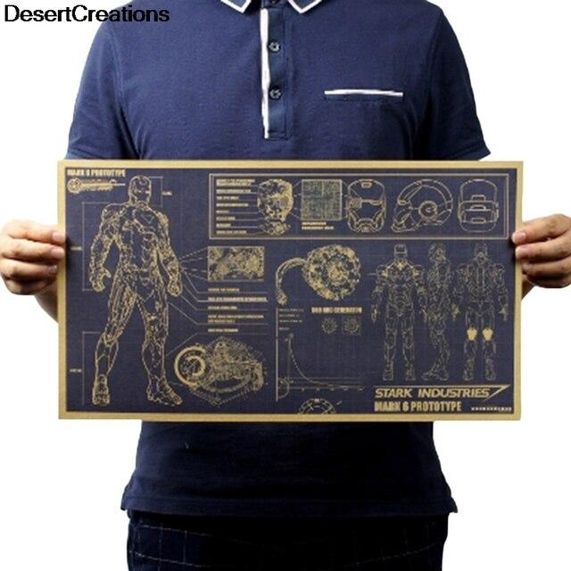 1 pz 2018 di Modo Movie Poster Retrò Carta Kraft Manifesto Pittura Decorativa