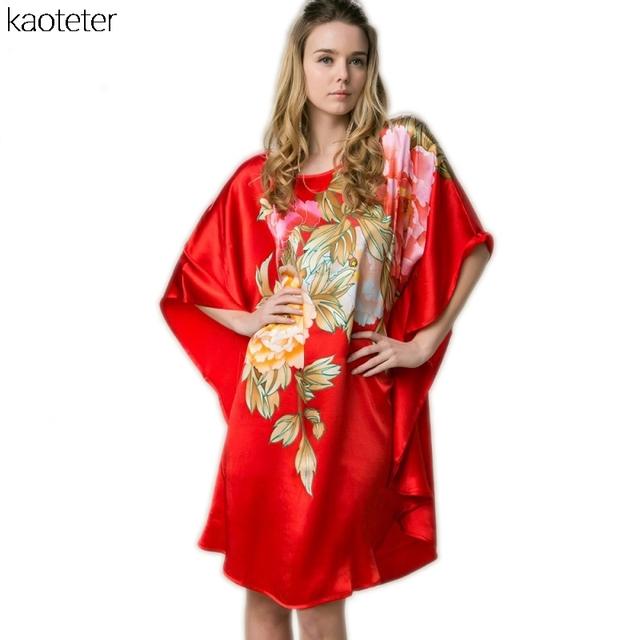 100% Mulheres De Seda Real Solto Homewear Loungewear Noite Saia Uma Peça Plus Size Camisolas Desgaste Casa Pintados À Mão Vermelho YBS00601