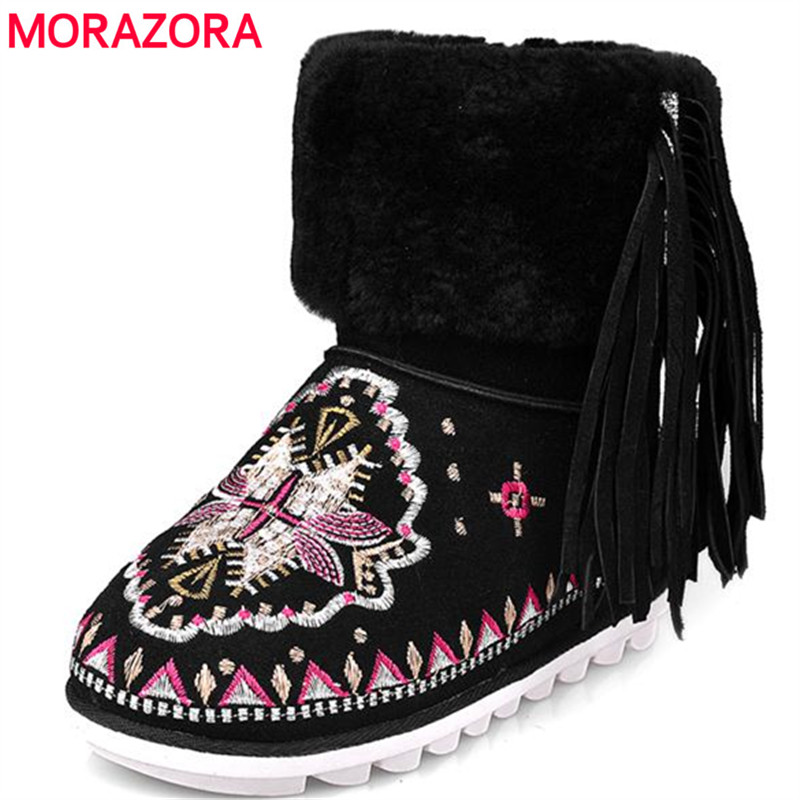MORAZORA Cow suede leather boots woman height increasing ankle boots winter embroidery national style top quality snow boots suede ankle snow boots