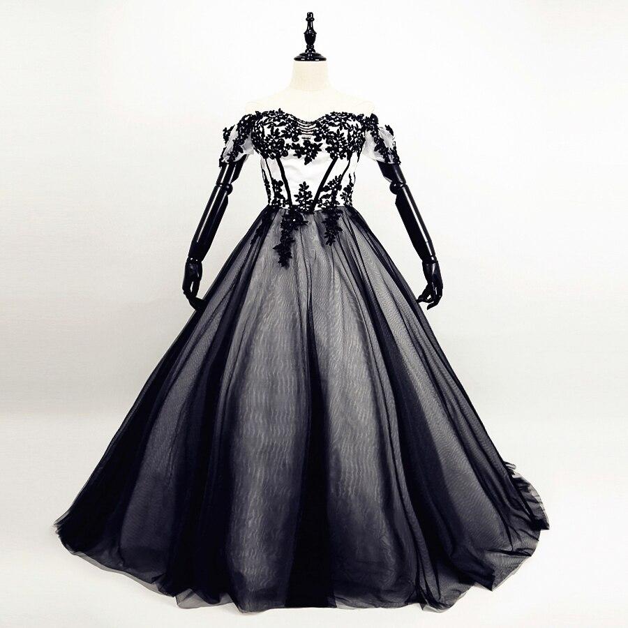 gothique noir et blanc pas cher r el mod le robe de mariage dentelle robe de bal de mariage. Black Bedroom Furniture Sets. Home Design Ideas