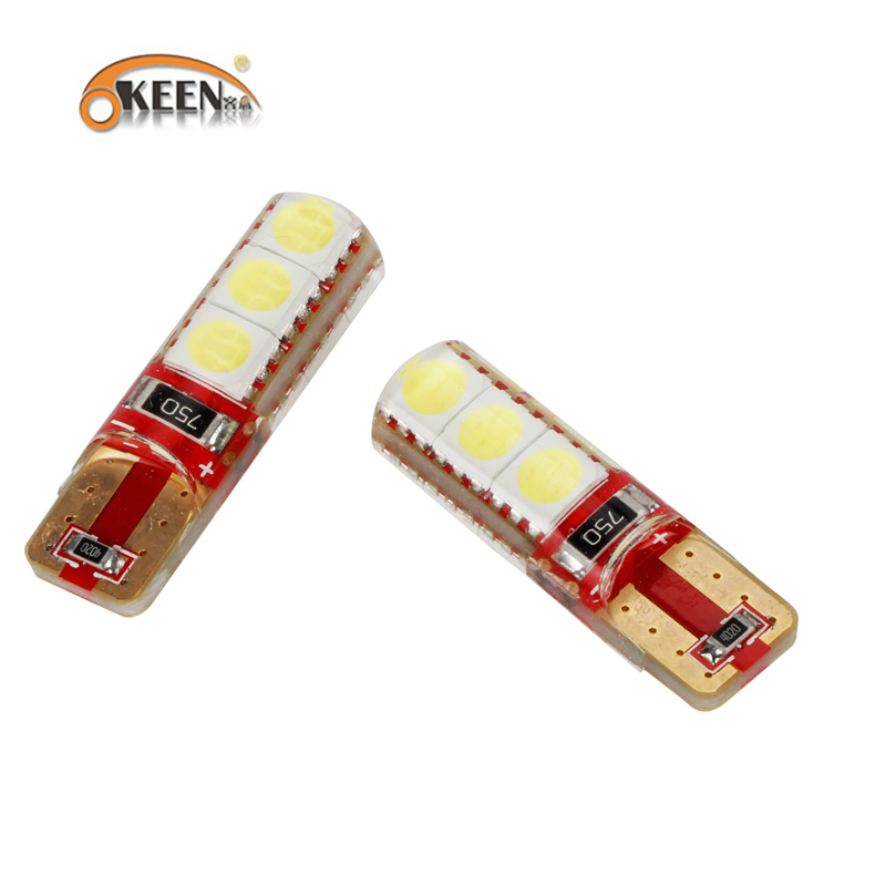 KEEN 2PCS car styling T10 W5W <font><b>LED</b></font> car interior light t10 <font><b>5w5</b></font> <font><b>canbus</b></font> car <font><b>led</b></font> auto bulb cob marker lamp 5050 6SMD <font><b>LED</b></font> Light Bulb image