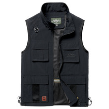 ICPANS Summer New Mens Vests Casual Sleeveless Jacket Male With Many Pockets Army Green plus Size XXXL 4XL