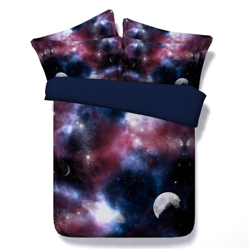 Lune Star Galaxy ensembles de literie double reine complète roi taille univers espace extérieur 3/4pc 3d housse de couette ensemble taies d'oreiller filles garçons