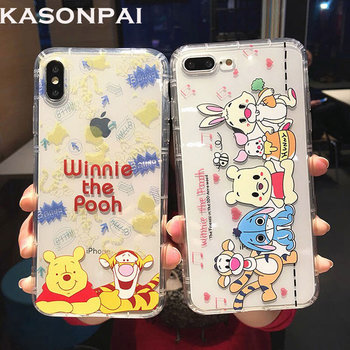 Cute Cartoon Phone Cases for iphone X XR XS MAX Winnie Pooh Tigger Piglet Eeyore Soft Clear Cover for iphone 6 6s 7 8 plus Case winnie the pooh iphone case