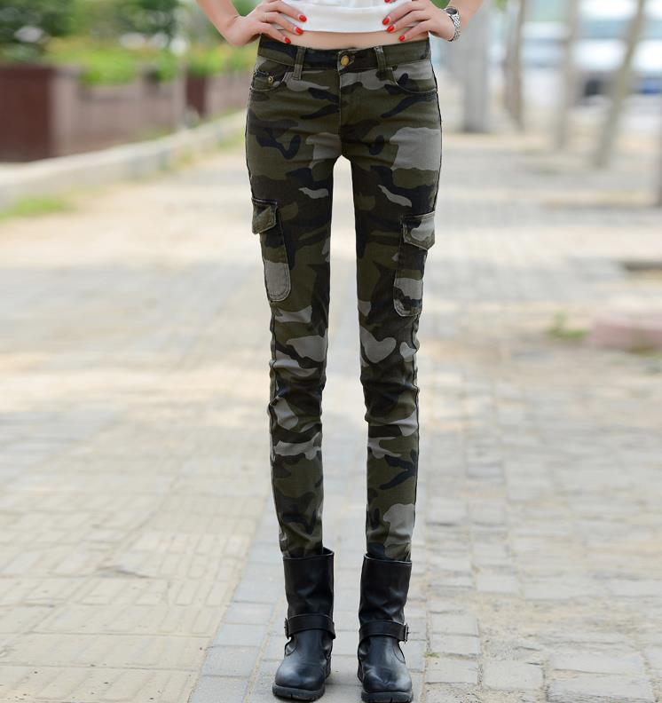 06347f18cc6 new fashion skinny jeans woman long pencil Camouflage pants casual ...