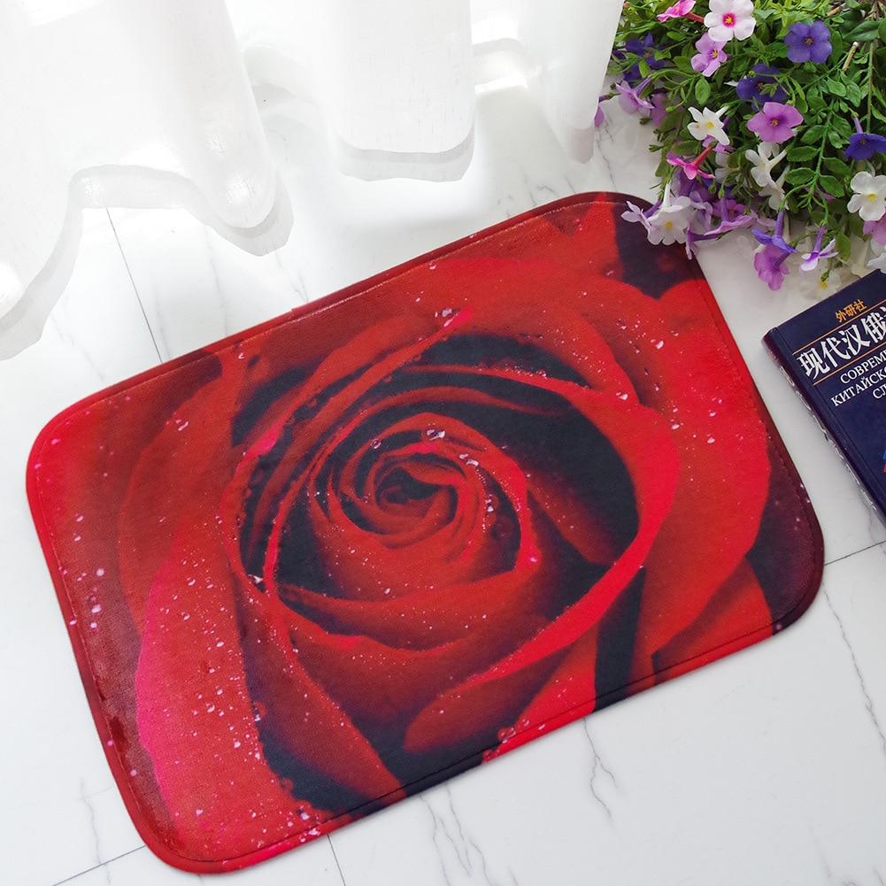 Zeegle Rose Printed Welcome Doormats Outdoor Anti Slip