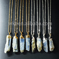 New wholesale natural blue kyanite necklace gorgeous tiny  raw stone charm kyanite necklace sliver  gold plated chain necklace