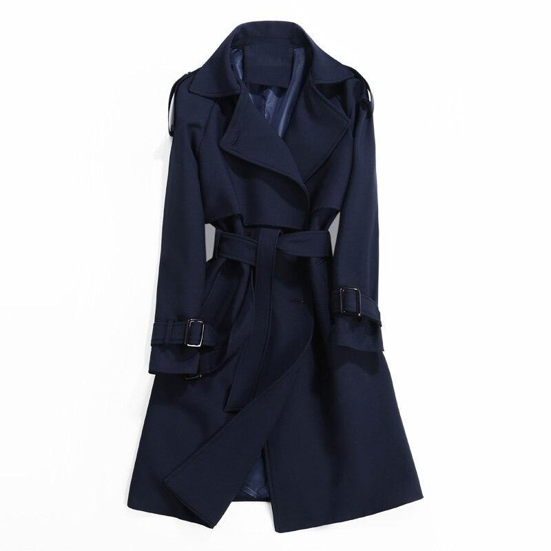 ผู้หญิงเสื้อ 2019 ฤดูใบไม้ผลิฤดูใบไม้ร่วงแฟชั่น Casual Slim แขนยาว Classic Double   Breasted Windbreaker Outwear-ใน โค้ทยาว จาก เสื้อผ้าสตรี บน   1