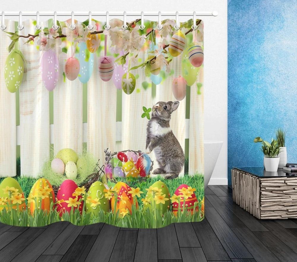 easter bunny polyester shower curtain fabric eggs rabbit fence flowers waterproof bathroom extra long bath curtains home decor