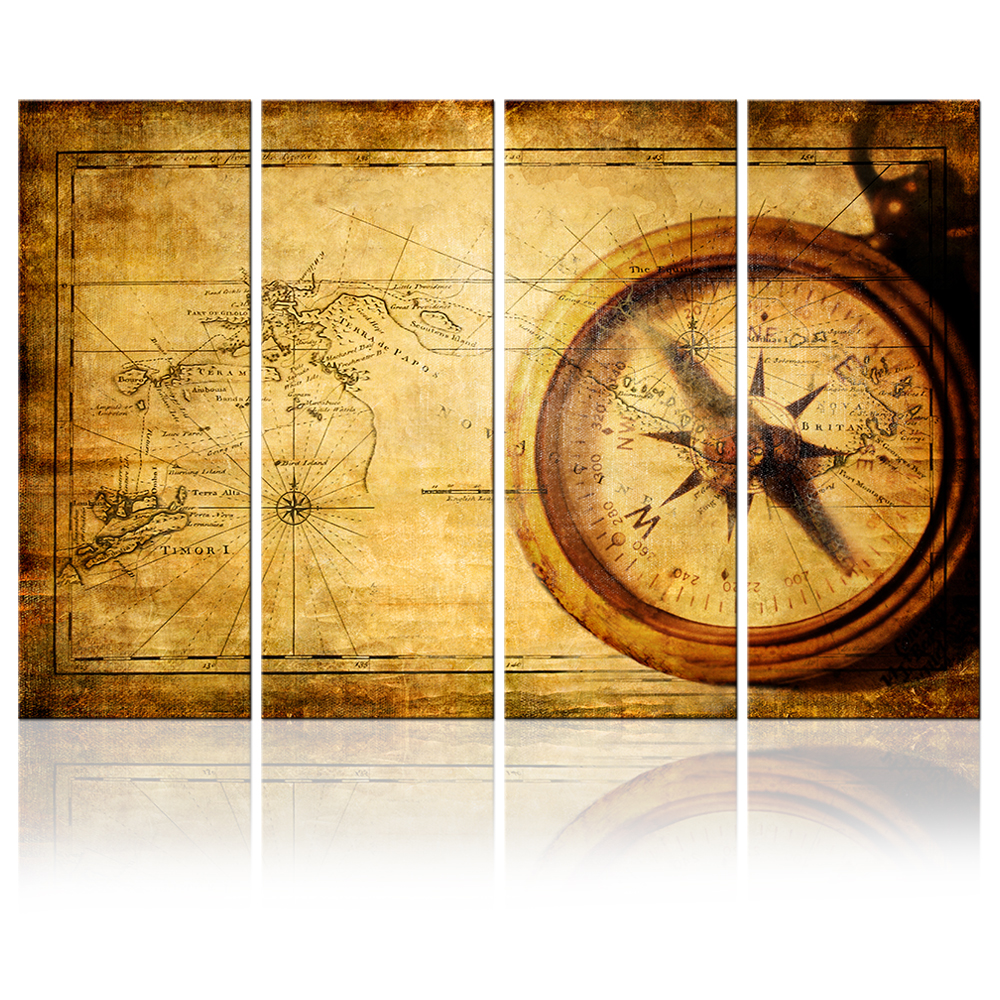 Navigation Canvas Painting Vintage World Map Wall Art Home Decor Antique Brass Sailing Compass Picture Adventure Map Poster