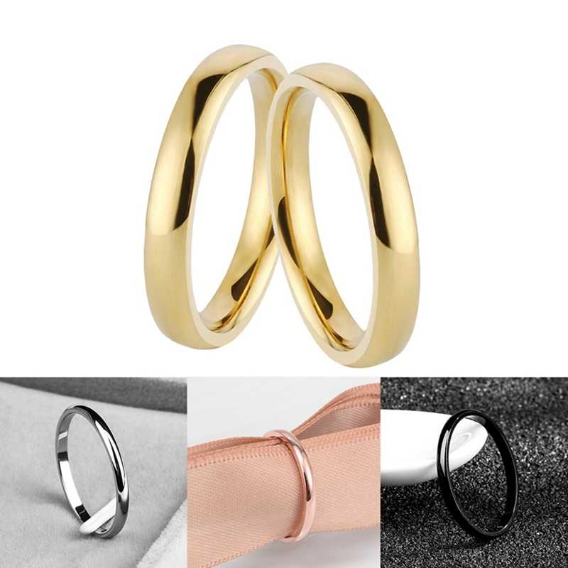 Thin Stainless Steel Four Colors Couple Ring Simple Fashion Rose Gold Finger Ring For Women  Jewelry