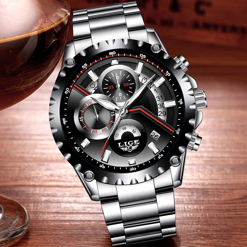 LIGE Mens Watches Luxury Top Brand 1