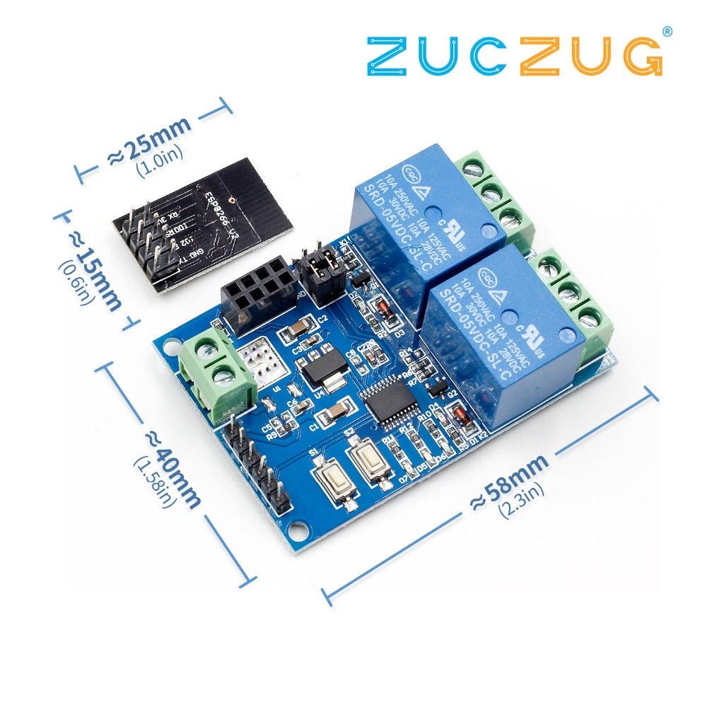 5V ESP8266 ESP-01 2 Channel WiFi Relay Module 2-Channel Relay Module For IOT Smart Home Phone APP Controller(With ESP8266)