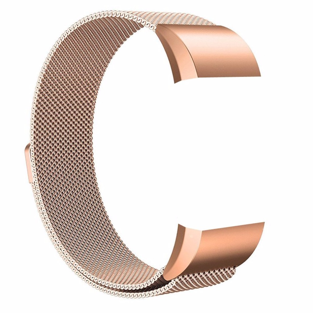 все цены на Rose Gold Fitbit Charge 2 band Stainless Steel Milanese Mesh Loop Wristband Magnetic Closure Strap for Fitbit Charge 2 онлайн