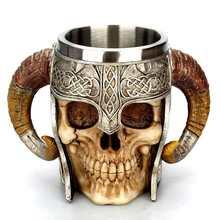 Viking Ram рогатый питлорд воин нержавеющая сталь Череп кружка пиво Коза Рог смолы кружка кофе кружки Хэллоуин Бар Подарок чайная чашка