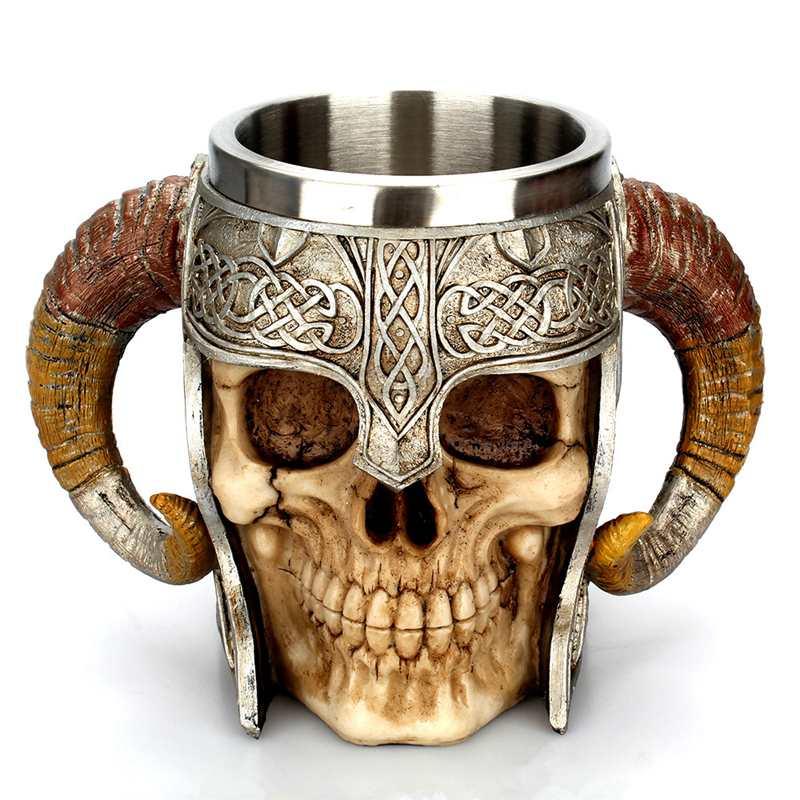 Vikingo Ram Horned Pit Lord Warrior Acero inoxidable cráneo taza cerveza cabra cuerno resina Tankard café tazas Halloween Bar regalo taza de té