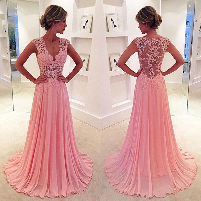 A Line Pink Deep V Neck Long Lace Appliques Formal Woman Party Prom Evening Gown Vestidos De Gala Illusion Mother Bride Dresses
