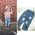 ins* 2016 unisex baby boys girls soft cotton jeans love heart pattern kids autumn full length pants 1-5Y comfortable