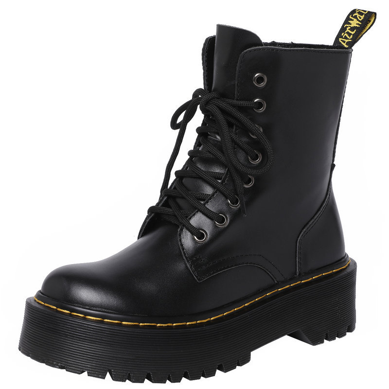 лучшая цена 2018 Autumn and Winter Boots for Women Genuine Leather Martin Boots Retro British Style Ankle Shoes