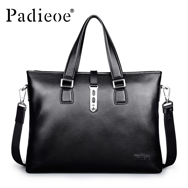 Padieoe Business Briefcase Male Genuine Leather Male Briefcase Men Laptop Bags Men Briefcase Shoulder Bags Men Portfolio Black