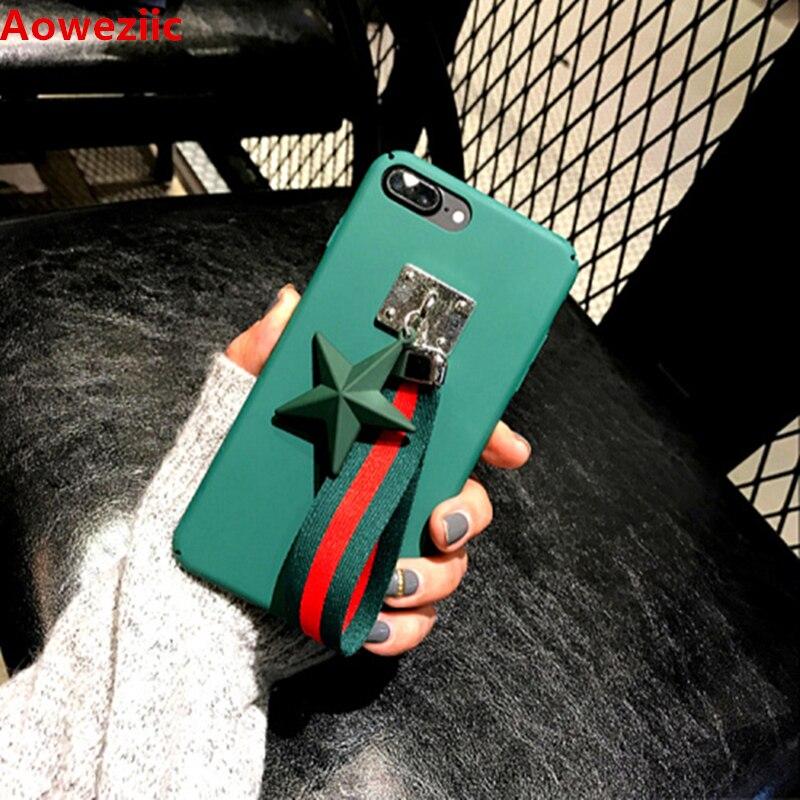 Aoweziic Corea Ciondolo Stella per la Cassa Del Telefono Macchia iphoneX Duro Shell 6 s 7 8 Plus Cassa Del Telefono Mobile cintura rivetto paillettes pentagramma