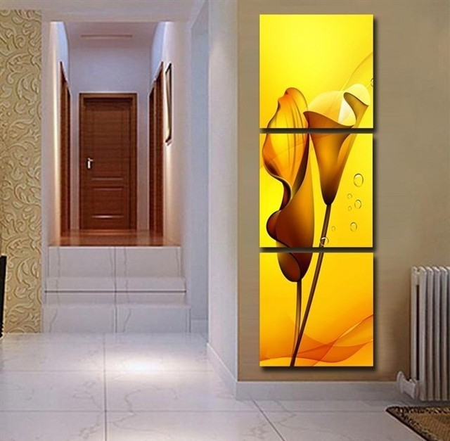 High Quality 3 Panels Wall Art Lily Flower Modern Painting Contemporary Canvas Prints Hanging On