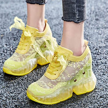 NAYIDUYUN  Summer Tennis Shoes Women Cow Leather Wedges High Heel Gladiator Sandals Breathable Sneakers Casual Trainers