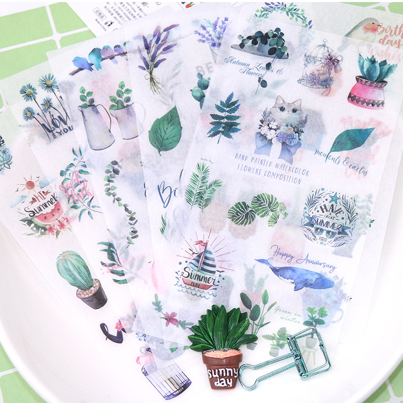 6 Pcs/pack Cactus Leaves Animals Decorative Stationery Stickers Scrapbooking DIY Diary Album Stick Lable