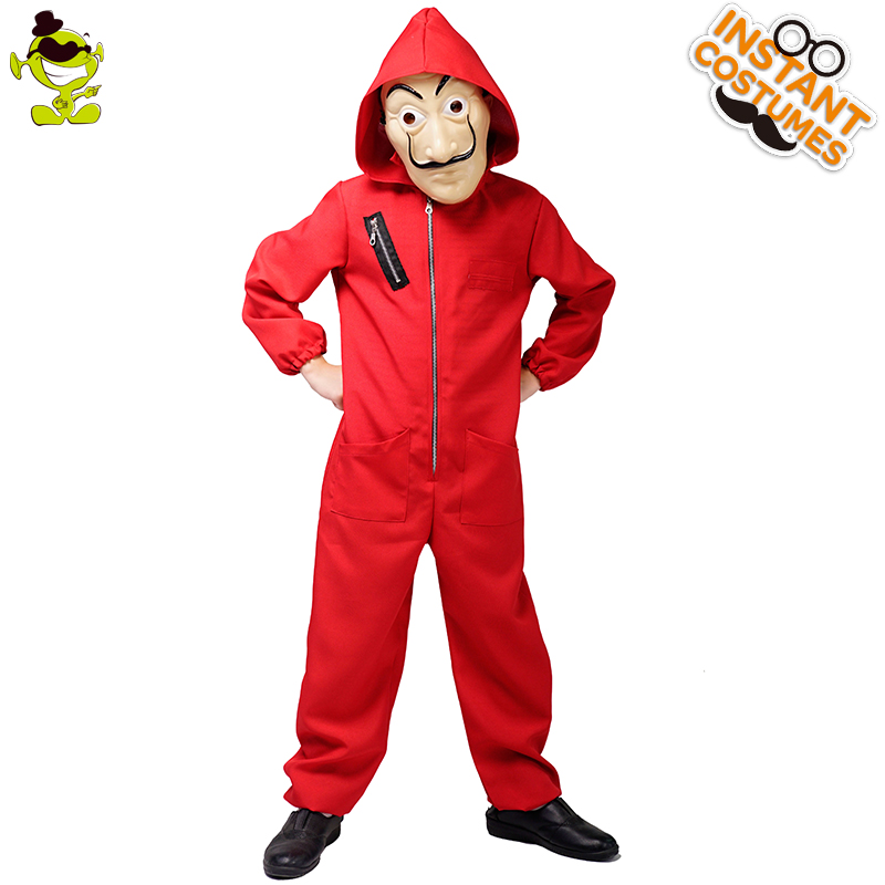 Kids Dali Movie Costume Role Play Money Heist The House of Paper La Casa Cosplay Halloween Party Costumes with Face Mask