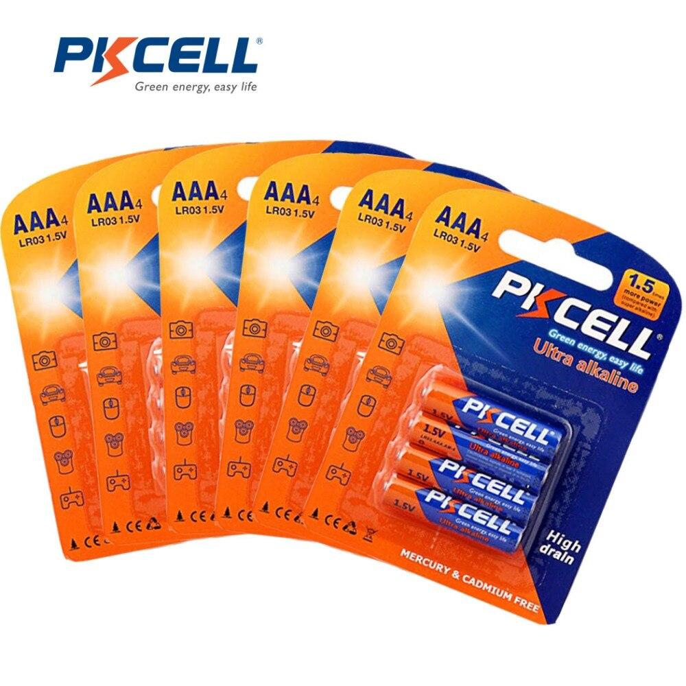 24Pcs 6card PKCELL Alkaline Battery Dry Batteries LR03 1.5V AAA Battery E92  AM4 MN2400 3A Bateria Baterias f034c9ec5c3f