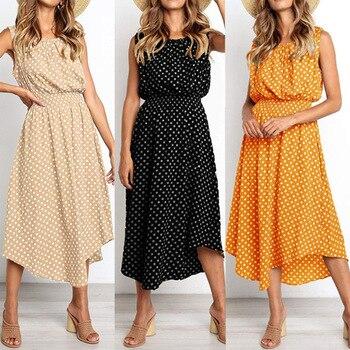 21957fd010dbd70 2019 летние женские платья богемное платье пляжное Бохо элегантное платье в  горошек винтажное вечернее платье без рукавов vestidos