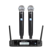 G-MARK GLXD4 Профессиональный UHF двойной беспроводной микрофон системы SM58 ручной микрофон 2 канала этап караоке Рождественский подарок