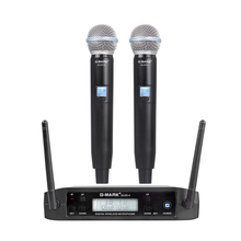 G-MARK GLXD4 Professional UHF Dual Wireless Microphone System SM58 Handheld Mic 2 Channels Cordless Stage karaoke boya by whm8 professional 48 uhf microphone dual channels wireless handheld mic system lcd display for karaoke party liveshow