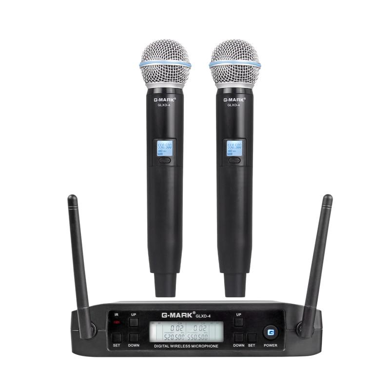 G-MARK GLXD4 Professionale UHF Doppio Microfono Senza Fili Sistema di SM58 Palmare Mic 2 Canali Senza Fili Stage karaoke
