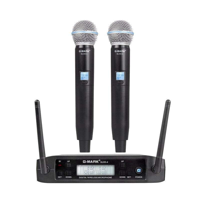 G-MARK GLXD4 professionnel UHF double système de Microphone sans fil SM58 micro portable 2 canaux sans fil scène karaoké