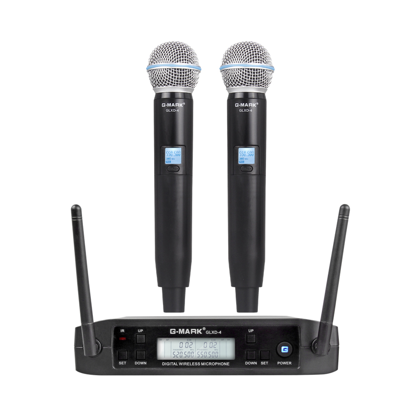 G-MARK GLXD4 Professional UHF Dual Wireless Microphone System SM58 Handheld Mic 2 Channels Cordless Stage karaoke