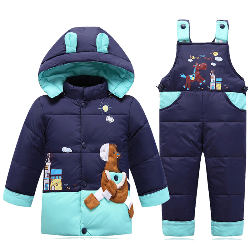 IYEAL Boys Snowsuit Cute Cartoon Warm Thick Baby Boy Winter Coat Kid Girls Down Jacket and Pants Children Clothes Outerwear new baby set 2015 winter baby girl clothes cartoon coat thick warm coat pants warm winter outerwear jacket clothing sets