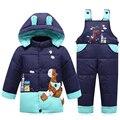 Muchachos traje para la nieve de la historieta linda caliente engrosamiento abrigo de invierno bebé niños niño abajo cubre la chaqueta y pantalones ropa niños prendas de vestir exteriores