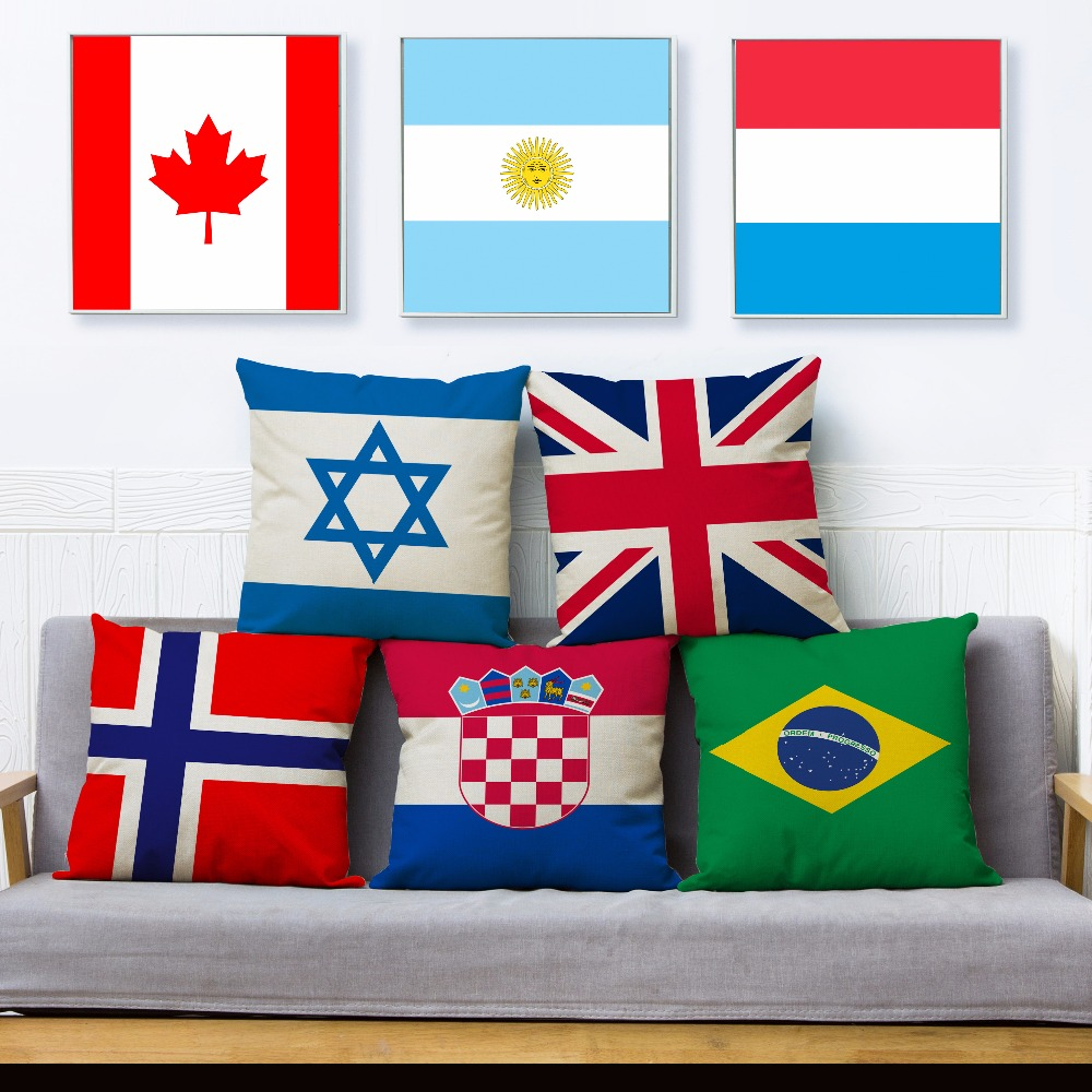 National Flag Print Throw Pillow Cover 45*45cm Square Cushion Covers Cotton Linen Pillow Case Car Sofa Home Decor Pillows Cases