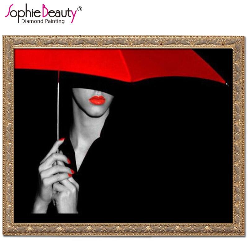Sophie Güzellik Diy Elmas Boyama Nakış Kırmızı şemsiye Kız Mozaik