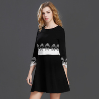 2017 New Style Dress Women O Neck Fake Two Piece Dress Lace Side Lady Gentlewoman A