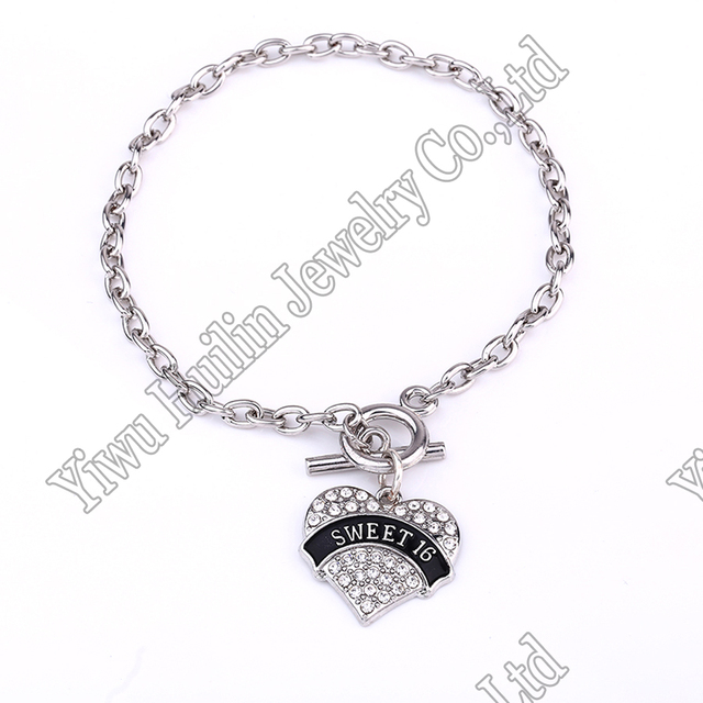 Us 5 61 8 Off Drop Shipping Fashion Rhodium Plated With Crystals Sweet 16 Heart Charm Bracelet In Chain Link Bracelets From Jewelry Accessories