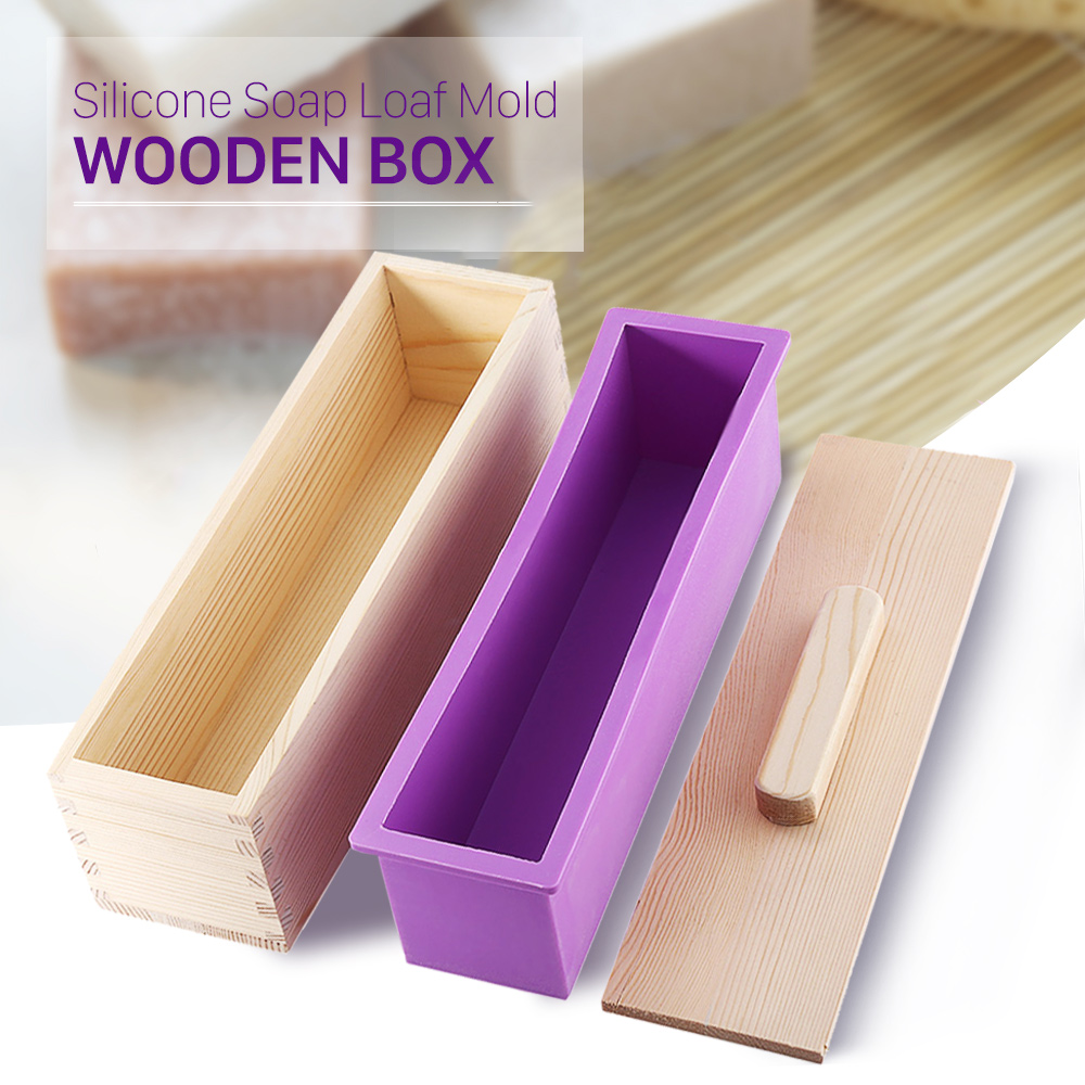 High Quality Eco-friendly 1200/900g Rectangle Silicone Soap Loaf Mold Wooden Box DIY Making Tools For Making Loaf Swirl Soap