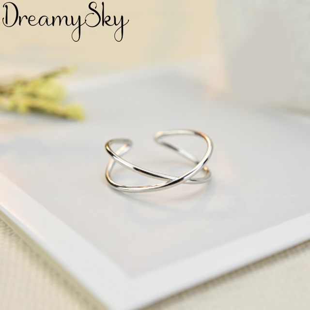 DreamySky Real 925 Sterling Silver Rings For Women Wedding Engagement Jewelry Vintage Antique Open Finger Cross Rings Bijoux