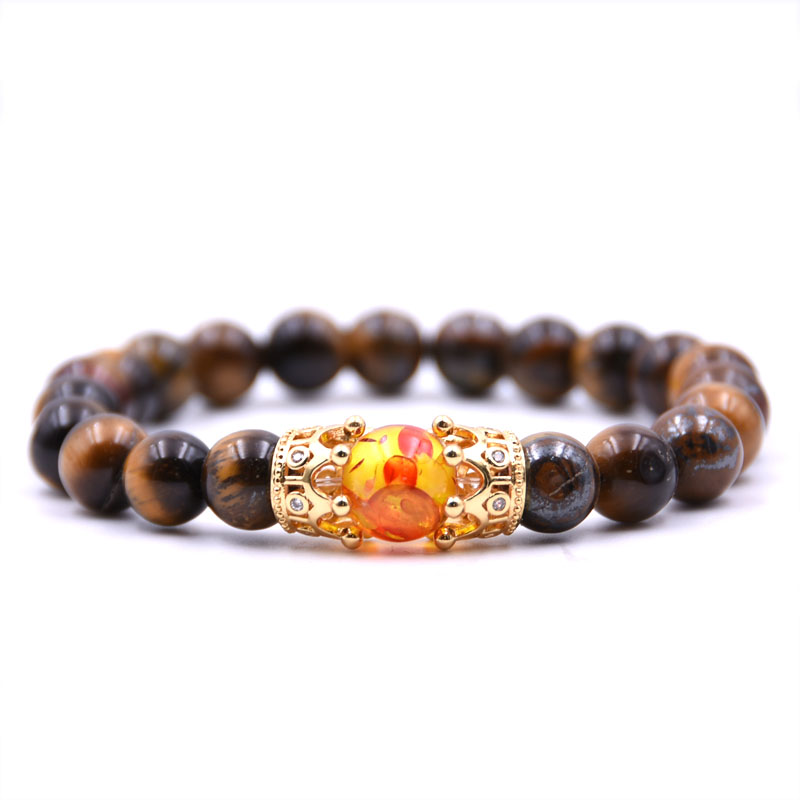 HONEYYIYI Micro Pave CZ Gold Double Crown Charms Bracelet Tiger eyes Stone beads Bracelets & Bangles Men Jewelry pulseras