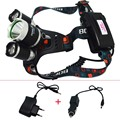 3LED Headlamp 6000Lm  XML T6+2R5 LED Headlight Head Lamp Light +EU/US Car charger for fishing Lights