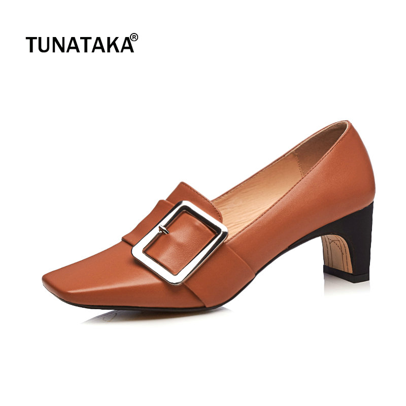 Genuine Leather Comfort Square Heel Buckle Woman Lazy Pumps Fashion Square Toe Dress High Heel Shoes Woman Black White Brown genuine leather thick high heel woman slingbacks pumps fashion square toe dress lazy high heel shoes ladies black white