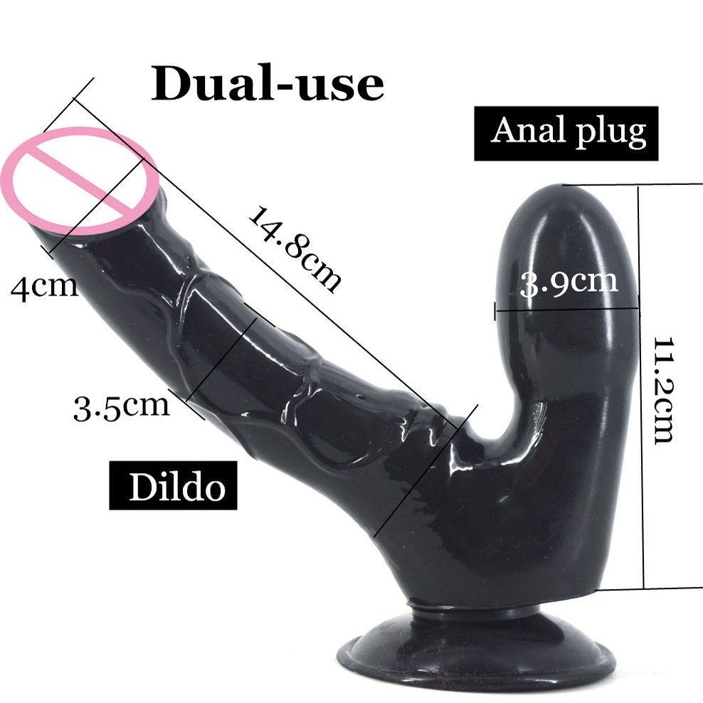Double dildo with suction cup Dual-use anal dildo butt plug penis lesbian masturbation gay flirting sex toys stuffed stopper new anal dildo realistic dildo with strong suction cup fake penis long butt plug anal plug sex toys for women sex products